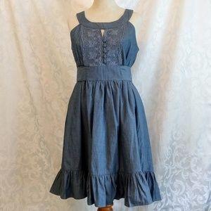 Doki-Geki Denim-Style Dress with Grecian Neckline